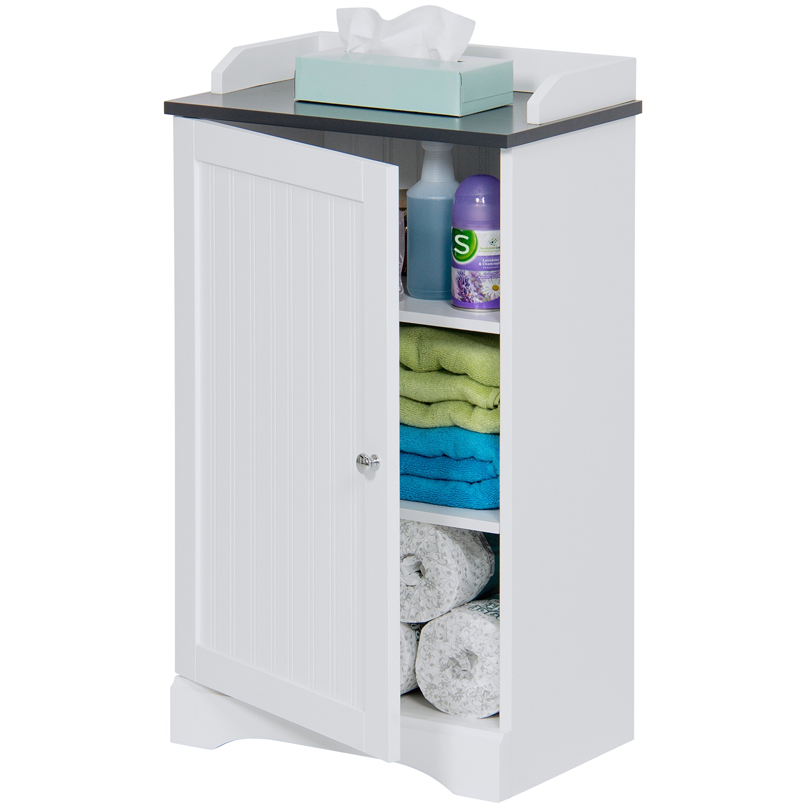 Best Choice Products Bathroom Floor Storage Cabinet w/ Versatile Door (White)