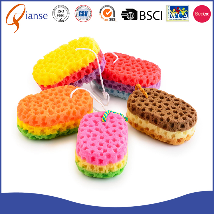 Custom factory price body back scrubbing PU pink soap shaped exfoliating foam bath sponge with sponge material for shower