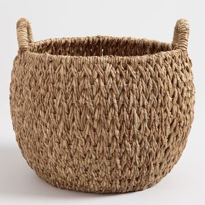 Eco-friendly handicrafts design willow wicker picnic lined basket Hand made natural seagrass toy storage basket