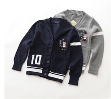 2016 Kids Polo Sweater Children Casual Cardigan Girls&Boys England Style Knitted Single Breasted Sweater For Spring And Autumn