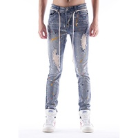DiZNEW Factory cheap wholesale scratch streetwear blue men casual pants