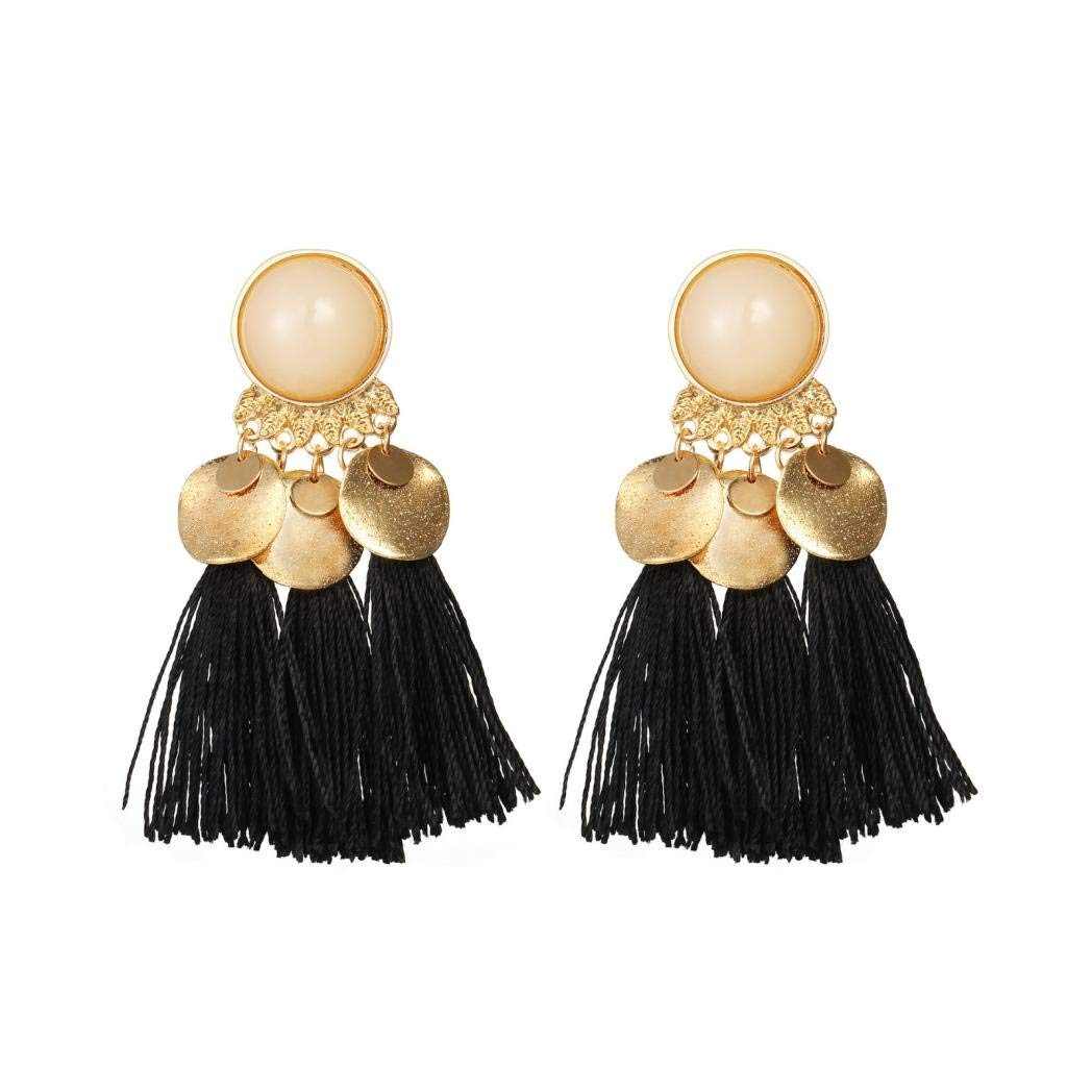 Tassel Dangle Earring Set for Women,ManxiVoo Bohemian Thread Tassels Crystal Long Drop Earrings Jewelry