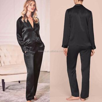 7e34d5ab1cf46 Атласные пижамы Оптовая Продажа индивидуальный заказ в Китае ночная рубашка  для женщин шелковые Revere Пижама с
