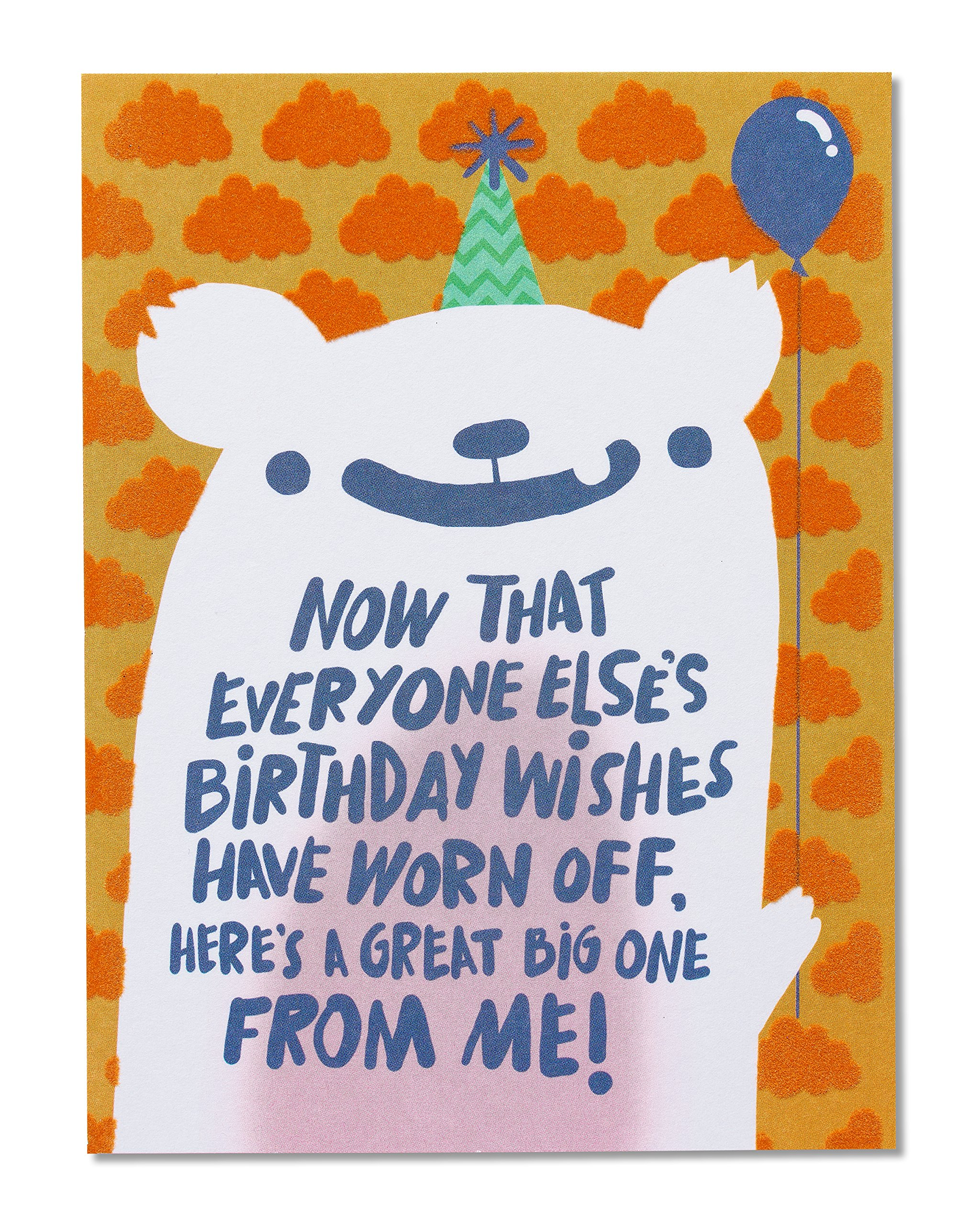 Get Quotations American Greetings Funny Birthday Wishes Belated Card With Flocking