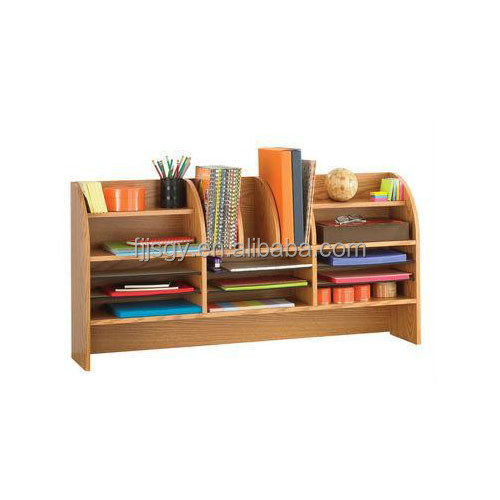 bamboo desk organizer storage station w/ bookshelf