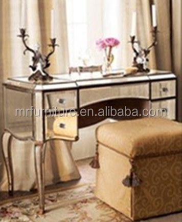 Hot Mirrored Dressing Table Furniture With Antique Gold