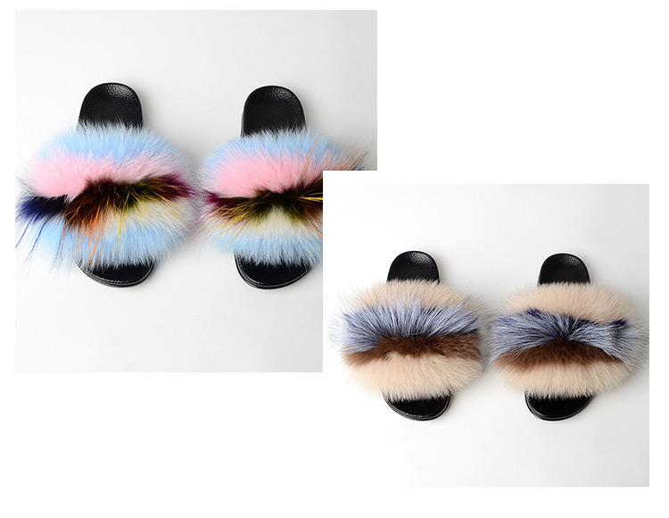 Sandals Women Colorful Sandal Furry Slippers Fox Fur Slides