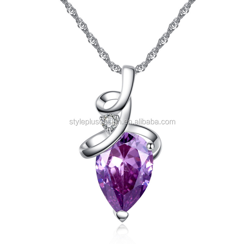 FC151 2017 elegant design oval shape Austria amethyst purple sterling silver CZ jewelry meaningful pendant for women gift