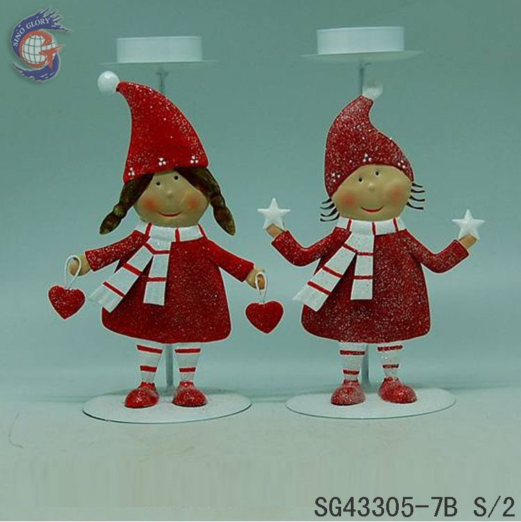 Red Xmas boy and girl decorative metal tealight candle holder