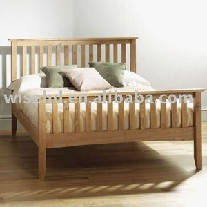 (W-B-0025) solid double oak wood bed full size bed
