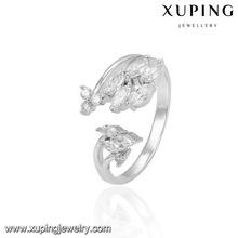 14018 Xuping gem ring size adjustable valentine gifts flower shape rhodium color