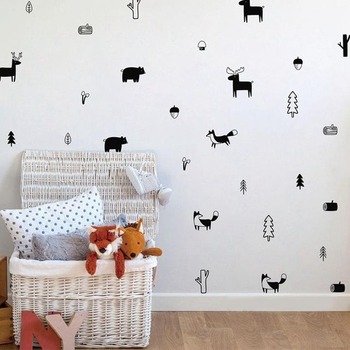 Nordic Forest Animal Wall Decals Woodland Tree Nursery Vinyl Art Stickers Children Room Modern Decor For Toys Home Decoration