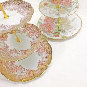 3 Tier Ceramic Cake Stand With Gold Plated Gold Wedding Cake Stand Cupcake Stand to Display Cake
