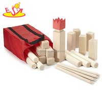 Top fashion the king and the soldiers kids wooden viking kubb game for garden W01D006