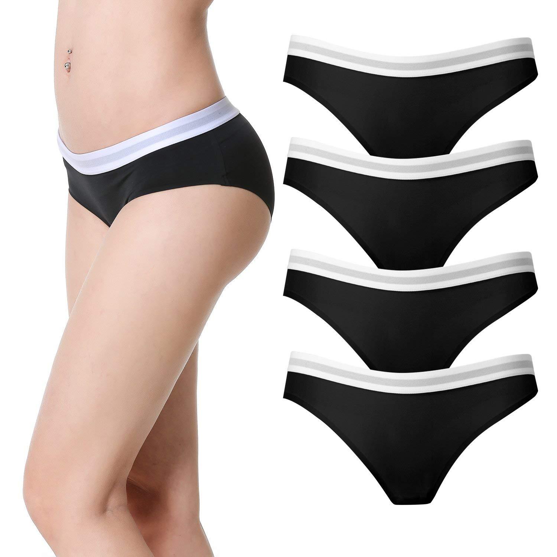 9bc3b3c11939 Get Quotations · La Volupte 4 Pack Women's Seamless Underwear Invisible  Bikini Sporty Nylon Spandex Panties
