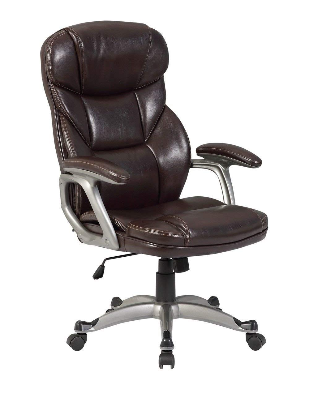 GHP Brown 330-Lbs Capacity PU Leather Swivel Ergonomic Executive Computer Desk Chair