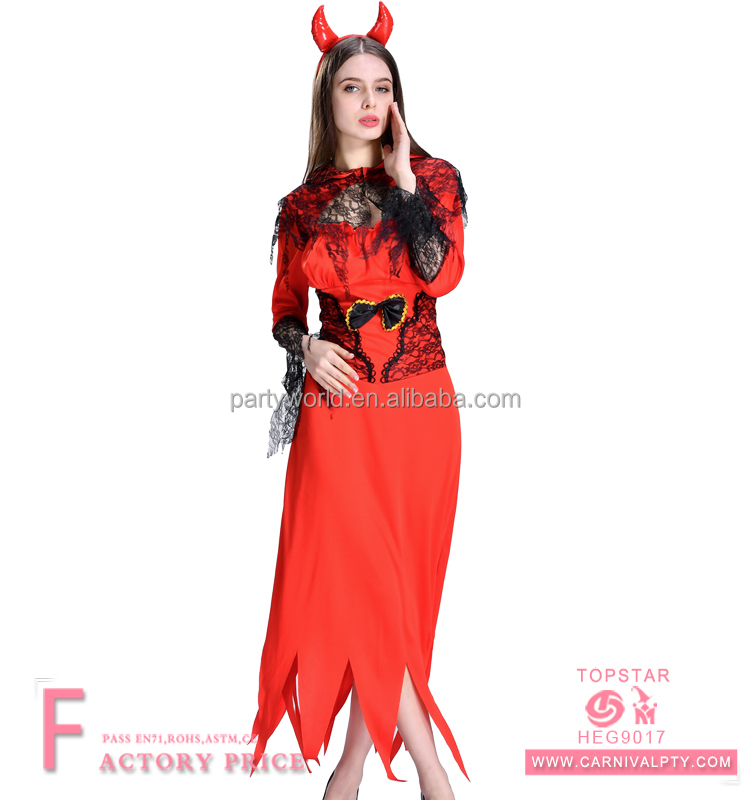 Sexy halloween adult women red devil costume