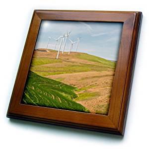 3dRose Danita Delimont - Palouse - Washington State, Palouse, wind turbines near Dodge Junction - 8x8 Framed Tile (ft_251500_1)