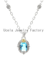 Sterling Silver Oval Blue Topaz Pendant Gemstone Necklace wholesale italian vintage costume jewelry