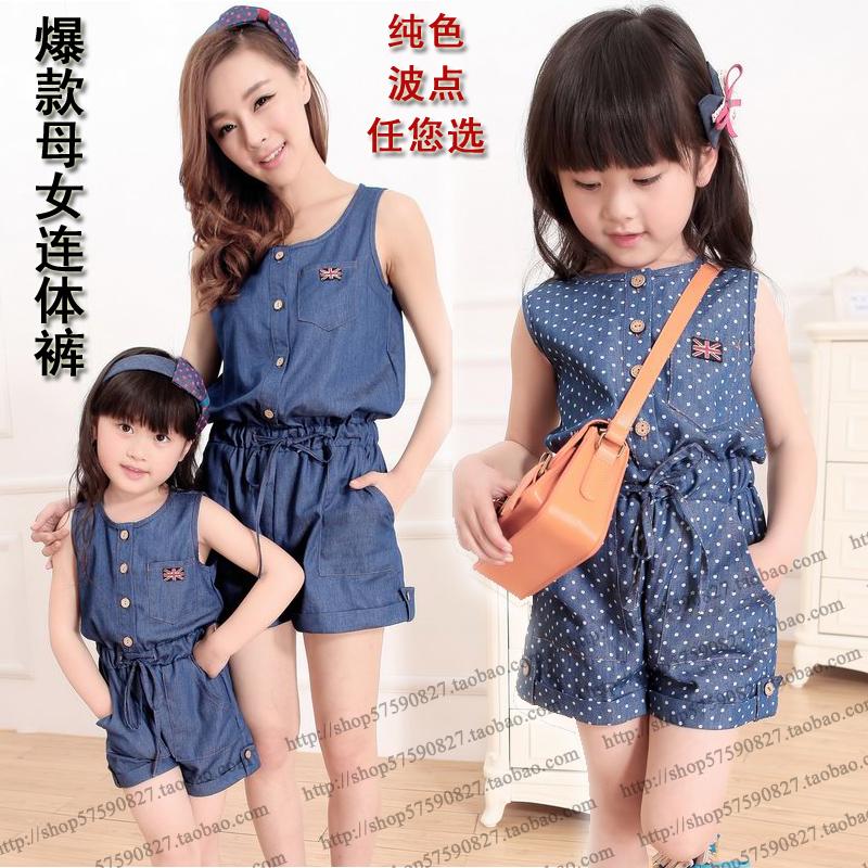Семья лето одежда для матери и дочери 100% хлопок деним без рукавов приталенный талия британский стиль комбинезон