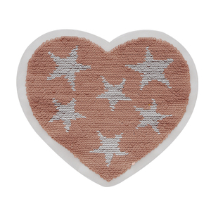 Hot selling reversible sequin embroidery patch Heart-shaped pattern embroidery