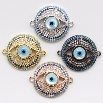 Round attractive eyes product jewelry connector , color brass CZ jewelry pendant parts for bracelet