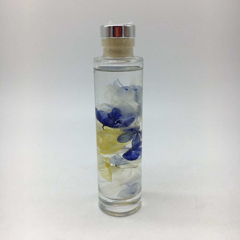 Fashion Home Decorative Glass Oil Floating Bottle With Dried Flowers For Home Decor Set