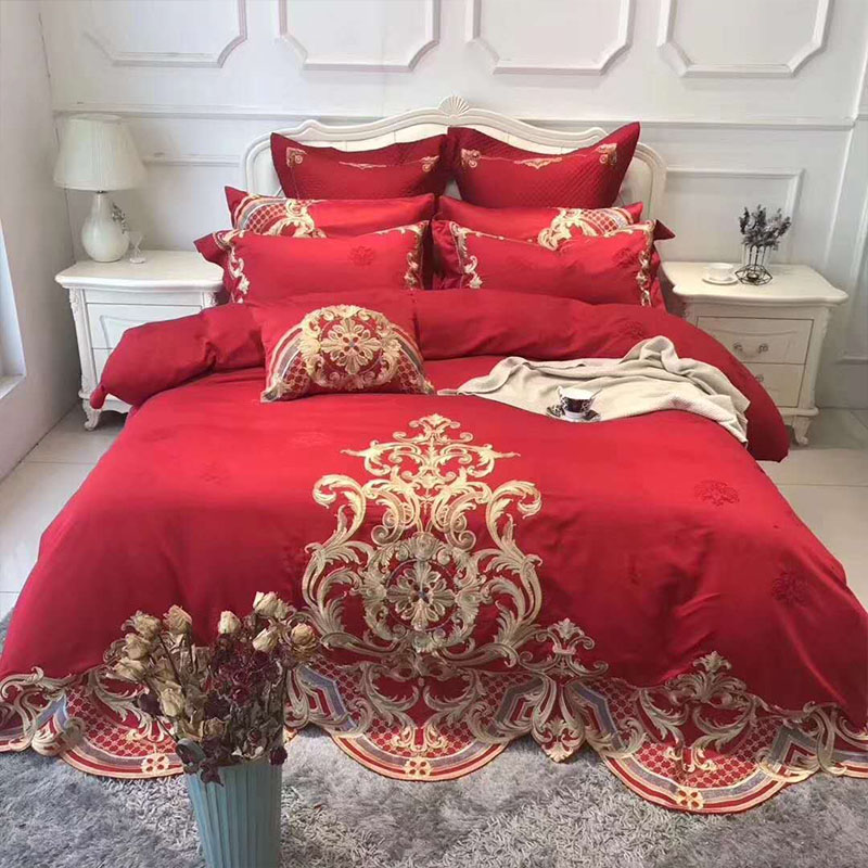 Best Promo Egyptian Cotton Luxury Red Bedding Set 4pc 100 Handmade Embroidered King Queen Size Wedding Bed Sheet Set Duvet Cover Pillowcase February 2021
