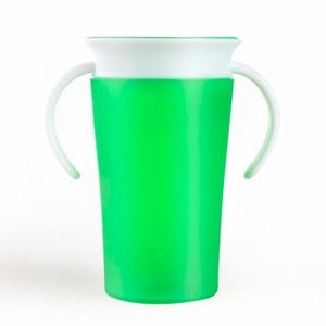 Green/blue 7 Ounce silicone sipper 360 Training cup Baby Trainer Cup