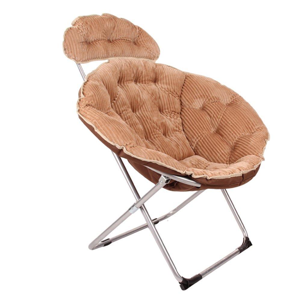 Folding chair / moon chair / lazy chair / lunch break deck chair / backrest / sun chair / round folding chair / casual home computer chair /Four colors available ( Color : Khaki )