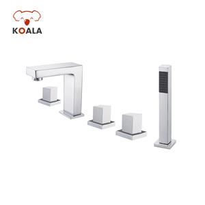 Bathroom Retractable Hose Set Roman Bathtub Faucet, Chrome Brass Widespread UPC Bathtub Faucet