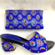 Evening Party Wedding Coral Royal Blue Lady Handbag Italian Middle Heel Shoes