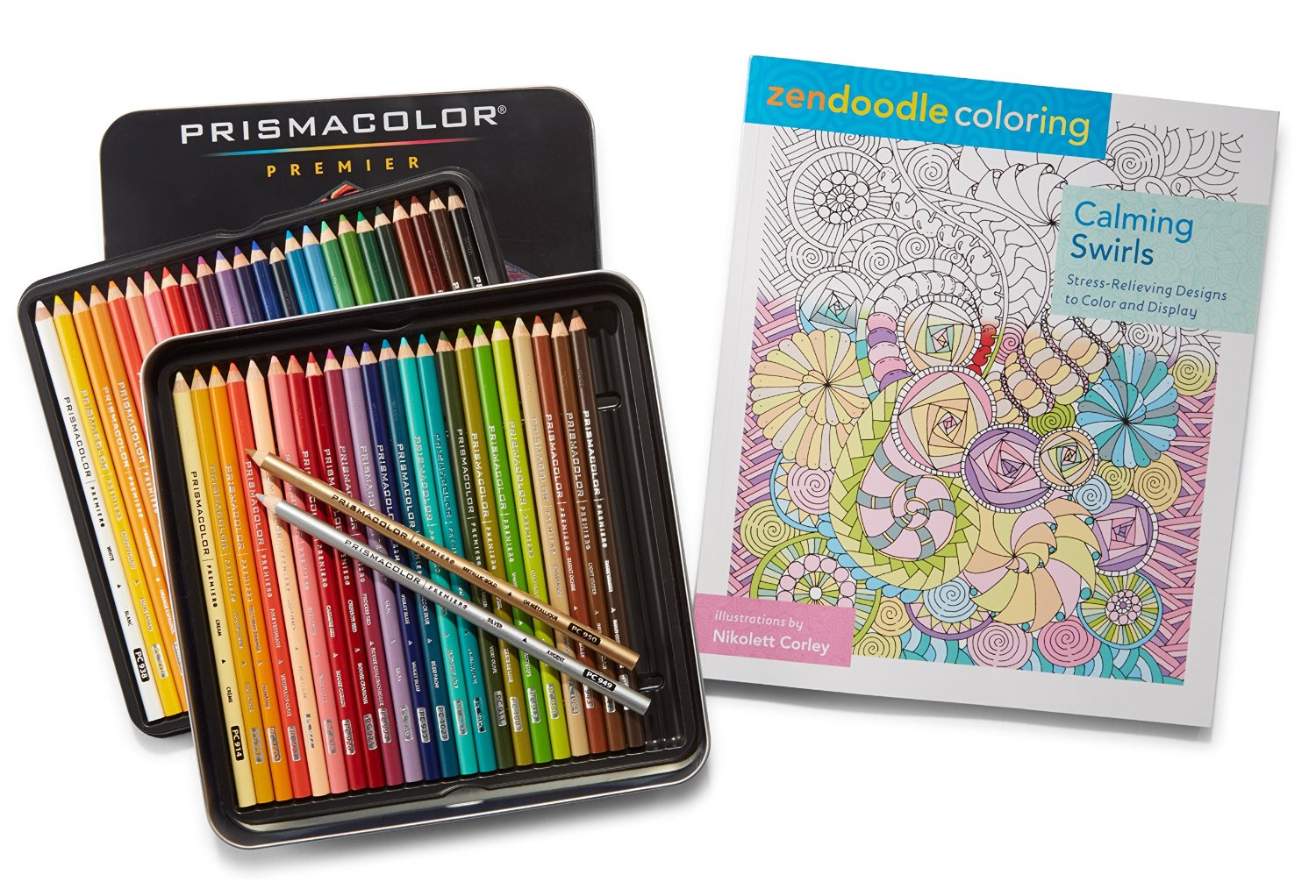 Prismacolor Premier Colored Pencils, Soft Core, 48 Pack and Adult Colring Book (Zendoodle Calming Swirls)