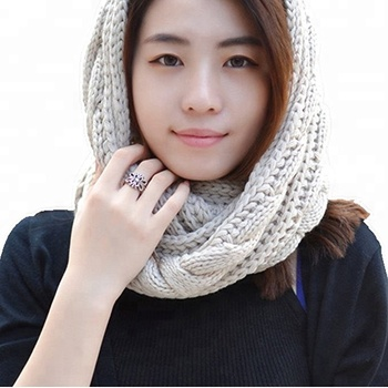 Womens Thick Ribbed Knit Winter Infinity Circle Loop Scarf