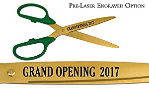 """Pre-Laser Engraved """"GRAND OPENING 2018"""" 25"""" Green/Gold Ceremonial Ribbon Cutting Scissors"""