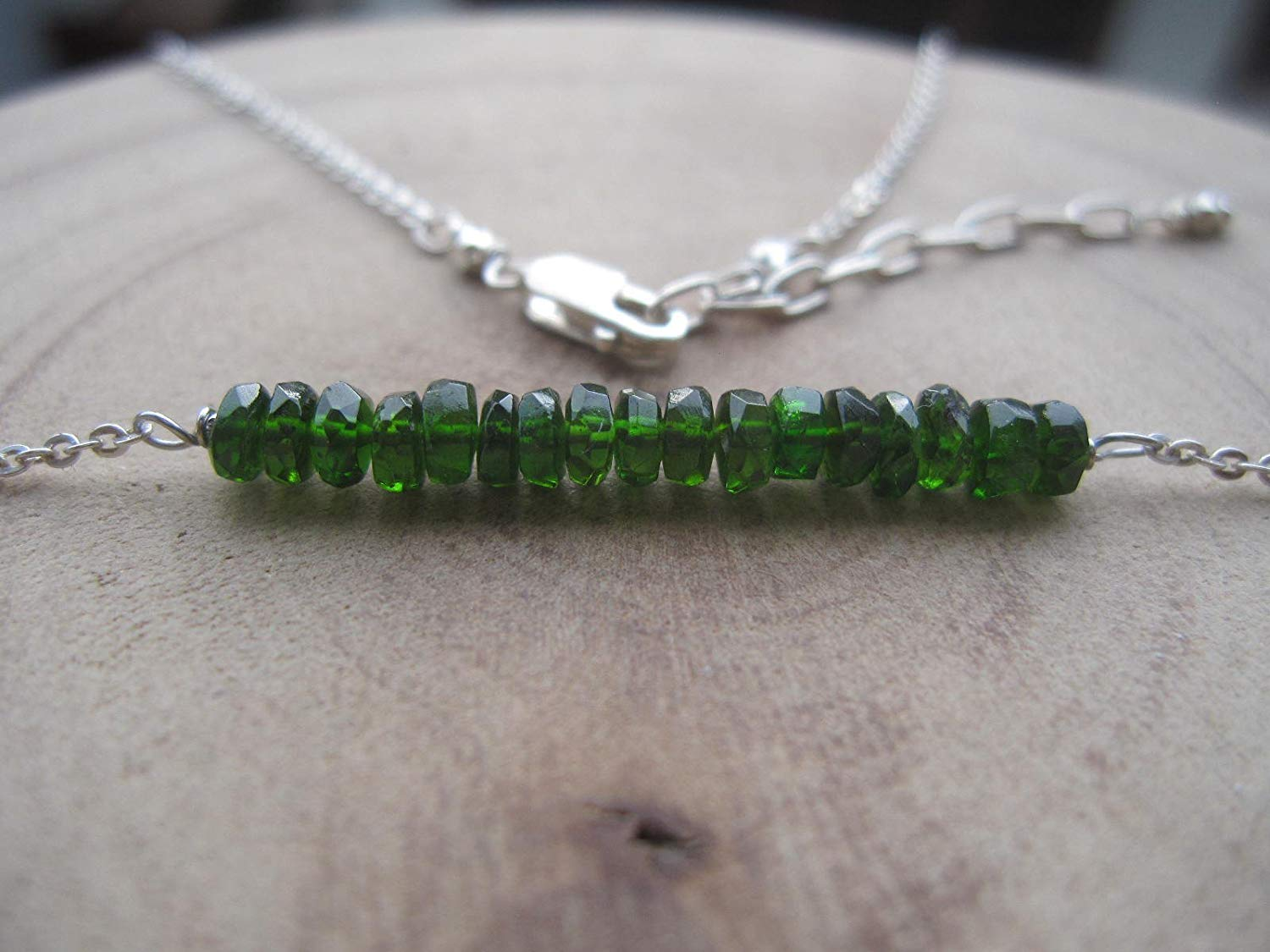 Chrome Diopside Bar Necklace,925 Sterling Silver Chain,Custom Size 15,16,18,20 Inches