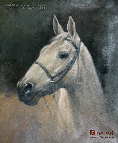 Abstract animal face painting of white horse art