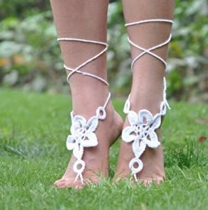 White Barefoot Sandals. Wedding Sandals. Hippie Barefoot Sandals , Barefoot Sandles, Crochet Barefoot Sandals, Yoga, Anklet