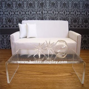 clear acrylic hot bent glass coffee table