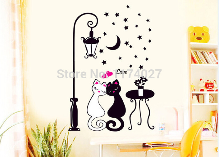 Free Shipping Cute Couples Cats Stickers for kids rooms Decor DIY Cartoon Wall decals Home Decoration