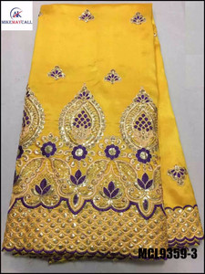 MCL9359-3 bright yellow African George lace fabric with sequins embroidery