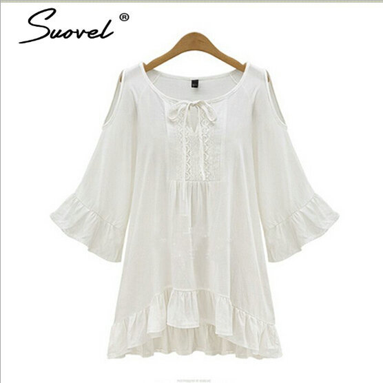 5e8425788c1 5XL New Brand Summer Hippie Bell Sleeve Dress Women Clothes Boho People  white Hollow Out Ruffles dresses
