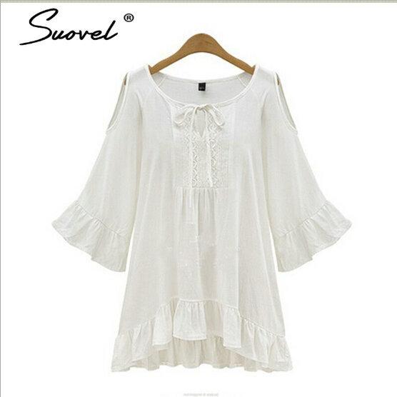 ff53c421a0d 5XL New Brand Summer Hippie Bell Sleeve Dress Women Clothes Boho People  white Hollow Out Ruffles dresses