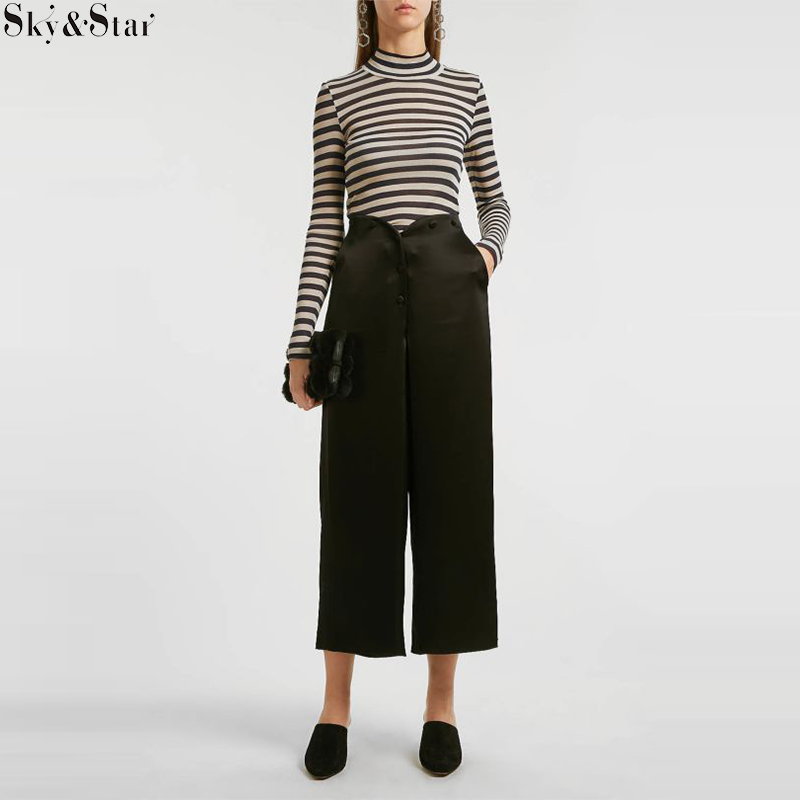 Cropped Satin Wide-Leg Trousers Lady Pants