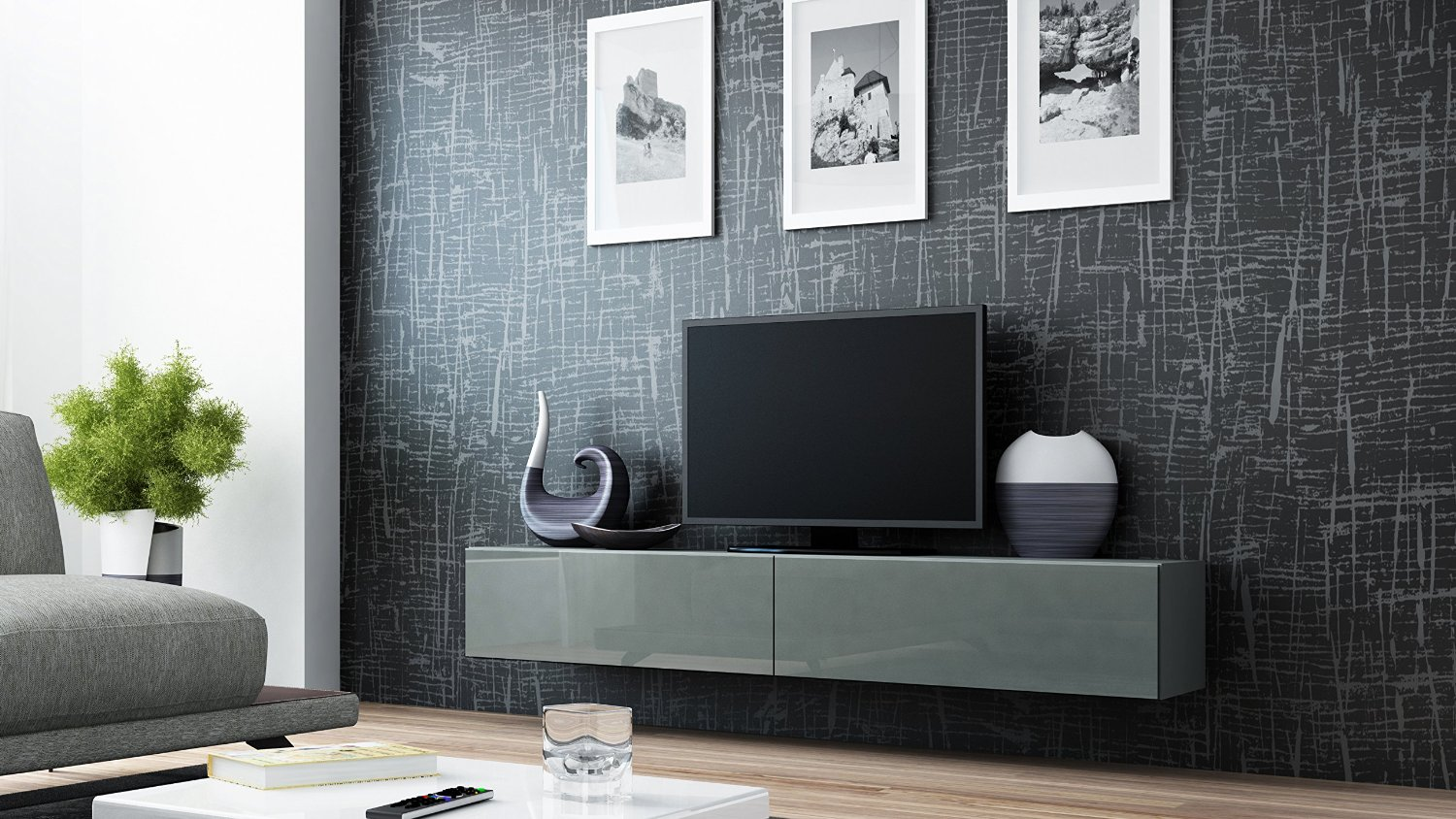 Concept Muebles 80 Inch Seattle High Gloss TV Stand - Grey Grey