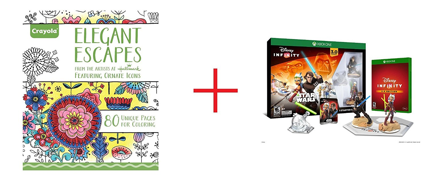 Crayola Adult Coloring Book - Elegant Escapes and Disney Infinity 3.0 Edition Starter Pack for Xbox One - Bundle