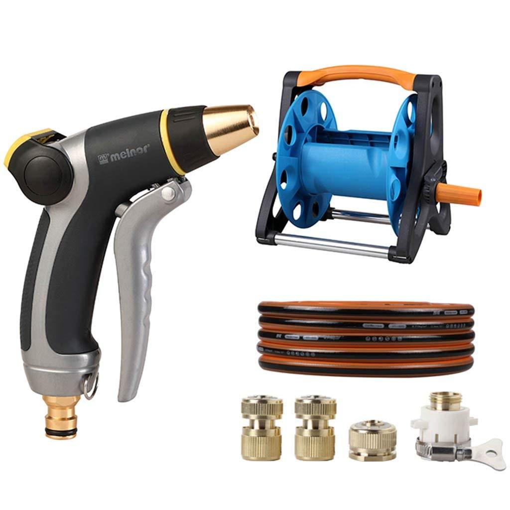 Roscloud@ Car Wash Water Gun High Pressure Set Hose Storage Rack Hose Pressure Grab Artifact Home Sprinkler Tools (Color : Black, Size : 15M)