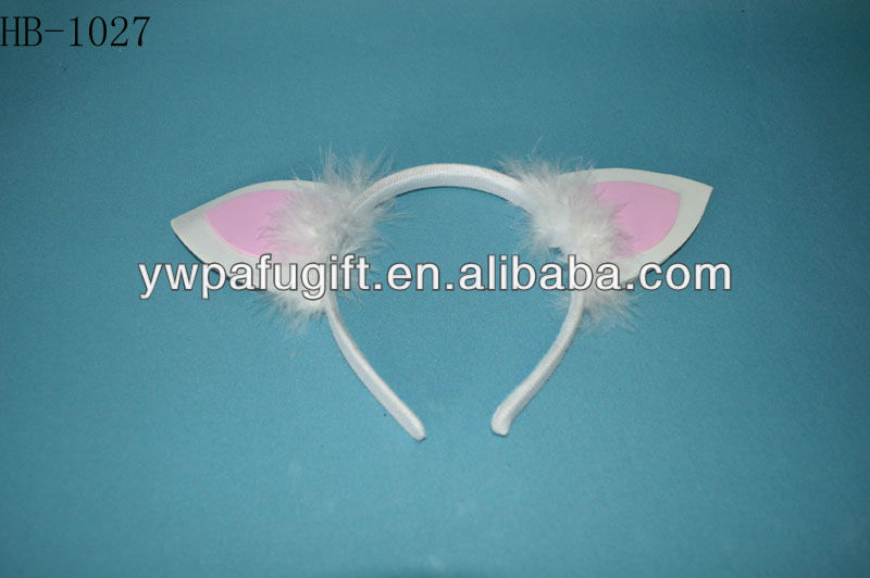 Halloween white and pink cat ears headband with feather