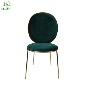 Home furniture Green velvet stay dining chair without armrest