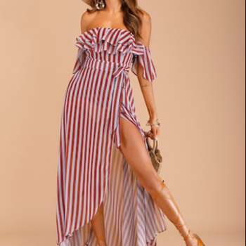 OEM Custom Casual Striped Belted Layer Ruffle Off The Shoulder Fashion Boho Custom Summer Jersey Dress